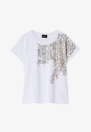 WITH APPLIQUÉS - Print T-shirt - optic white