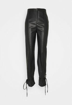 PU TIE CUFF TROUSER - Trousers - black