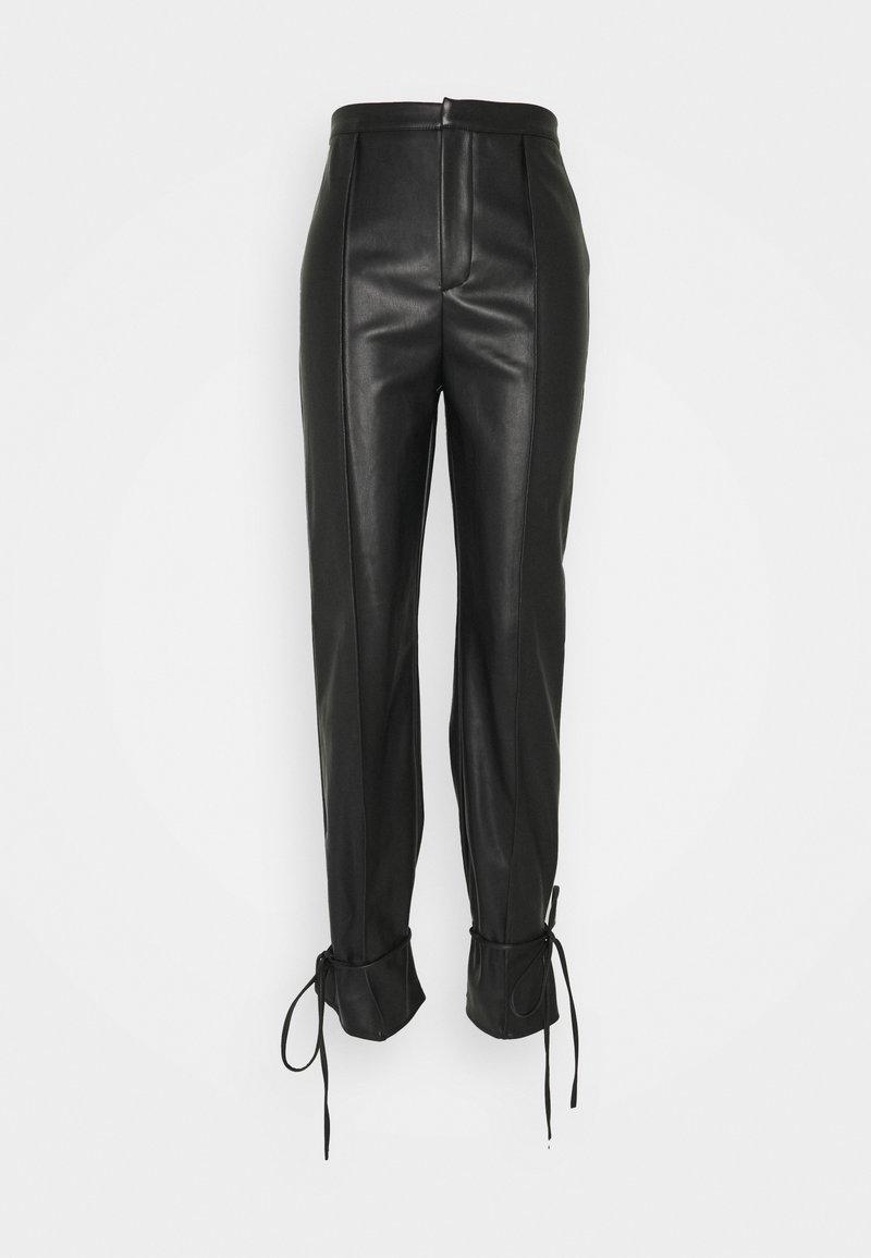Missguided - PU TIE CUFF TROUSER - Trousers - black