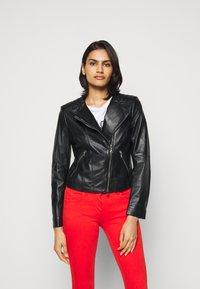 Patrizia Pepe - REAL JACKET - Leather jacket - nero - 0