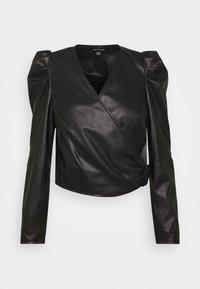 Who What Wear - CROPPED WRAP - Blouse - black - 0