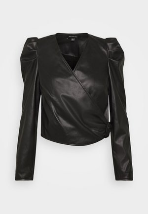 CROPPED WRAP - Blouse - black