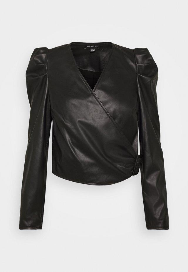 CROPPED WRAP - Blouse - black