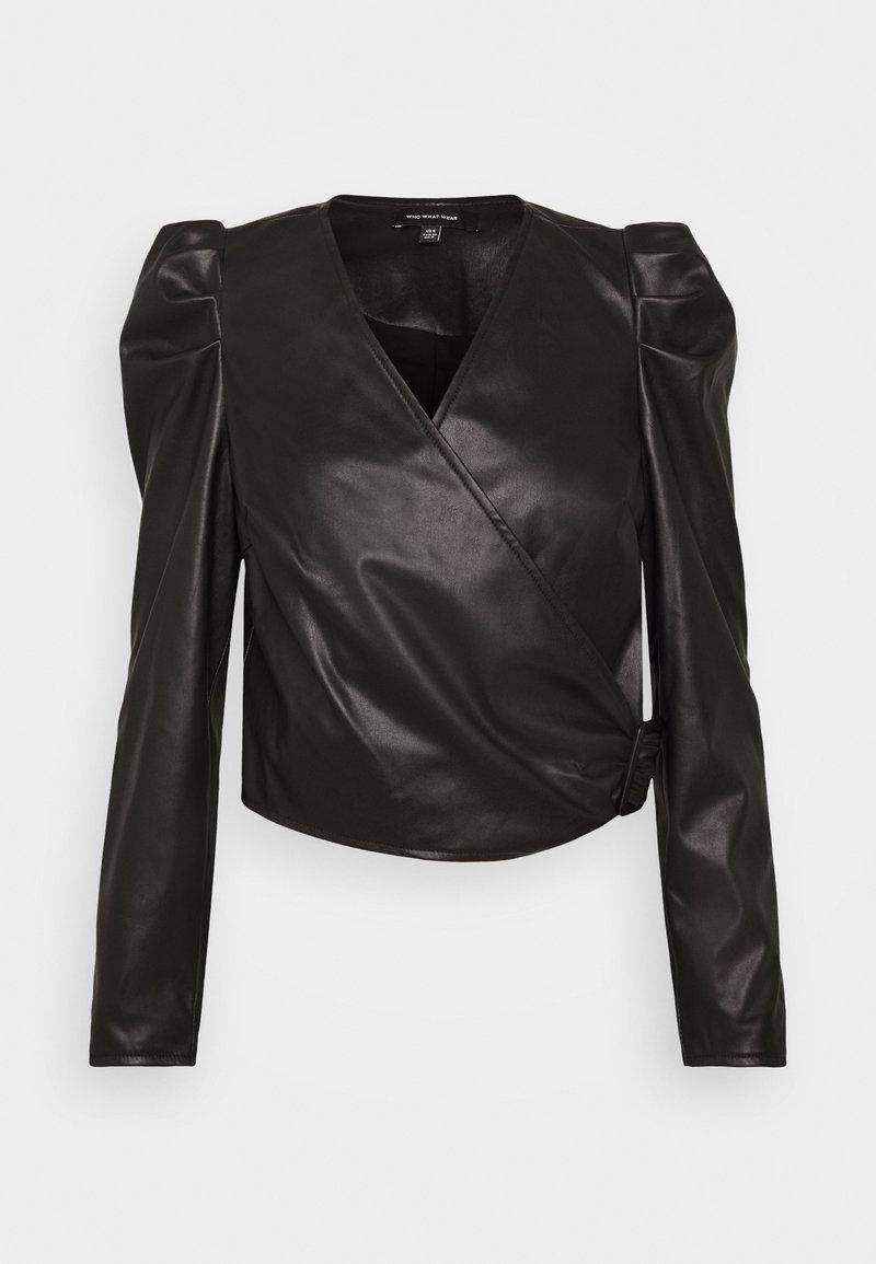 Who What Wear - CROPPED WRAP - Blouse - black