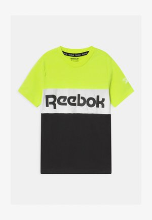 COLOR BLOCK - Print T-shirt - safety yellow