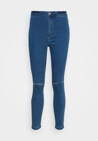 Missguided Petite - VICE HIGHWAISTED SLASH KNEE - Jeans Skinny Fit - blue - 3