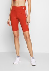 adidas Originals - ORIGINALS HIGH WAISTED TIGHTS - Shorts - lush red/white - 0