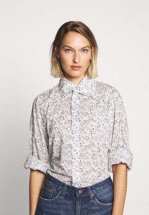 BYCE LONG SLEEVE - Button-down blouse - white/blue
