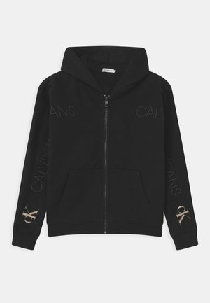 LOGO EMBROIDERY ZIP THROUGH - Zip-up hoodie - black