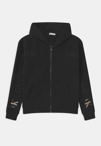 LOGO EMBROIDERY ZIP THROUGH - Zip-up hoodie - black