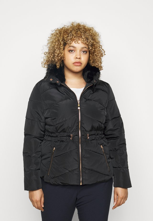 LUXE HOODED SHORT PADDED COAT - Winter jacket - black