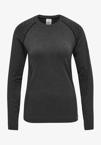 SEAMLESS T-SHIRT L/S - Long sleeved top - black melange