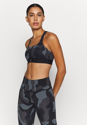 RUSH MID CAMO BRA - Medium support sports bra - black