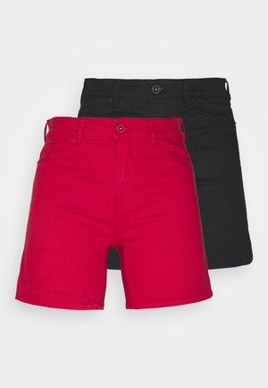 VMHOTSEVEN 2 PACK - Denim shorts - black/goji berry