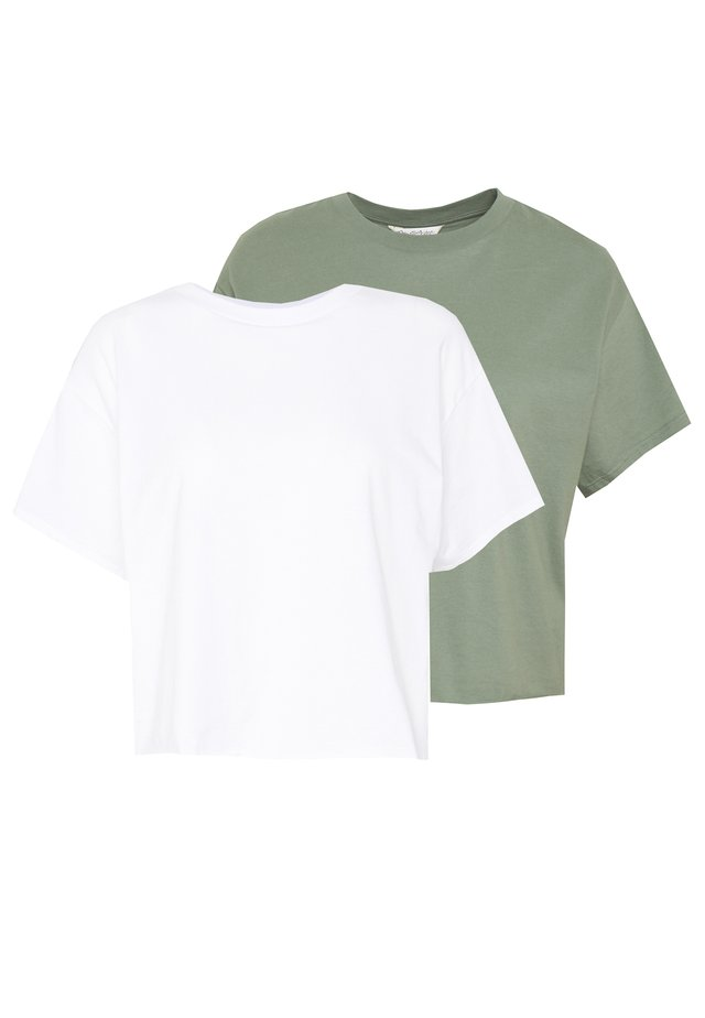 TEE 2 PACK - Basic T-shirt - khaki/white