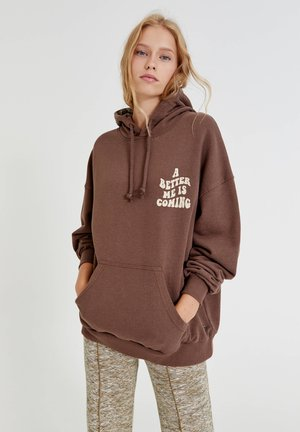 BRAUNER OVERSIZE SLOGAN - Sweatshirt - mottled light brown