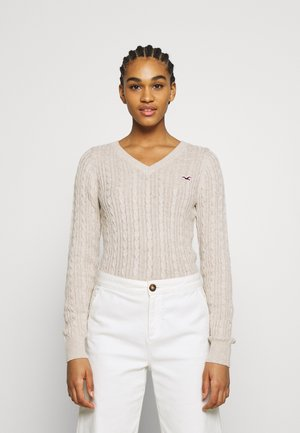 CABLE LAYER ON - Pullover - oatmeal