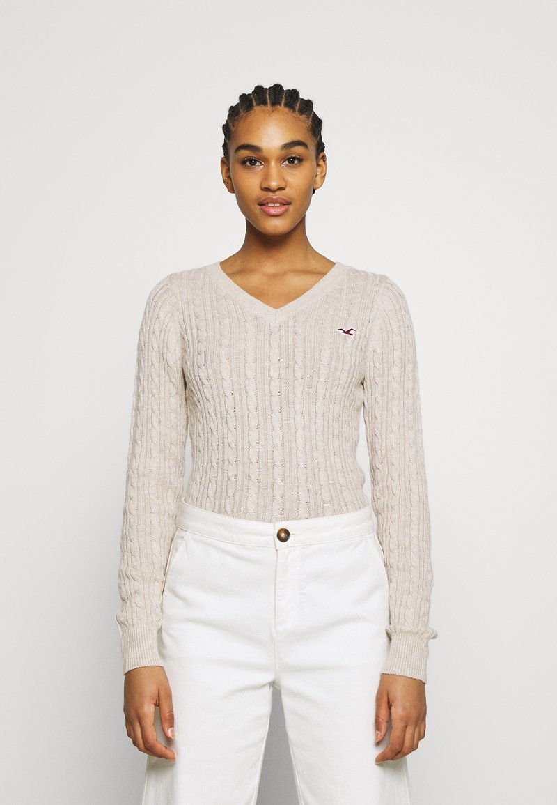 Hollister Co. - CABLE LAYER ON - Jumper - oatmeal