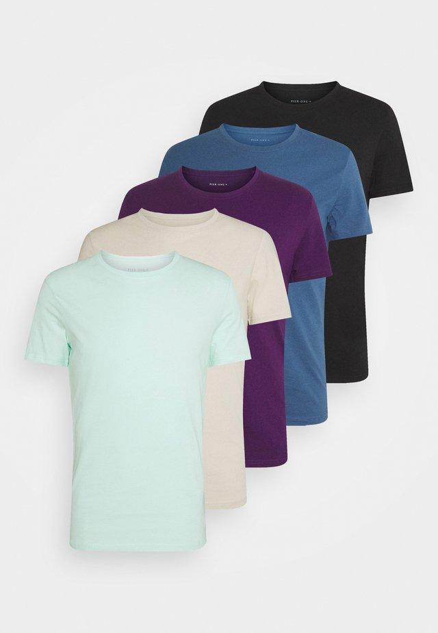 5 PACK - Basic T-shirt - light blue/black