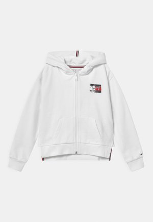 FLAG PRINT ZIP HOODIE - veste en sweat zippée - white
