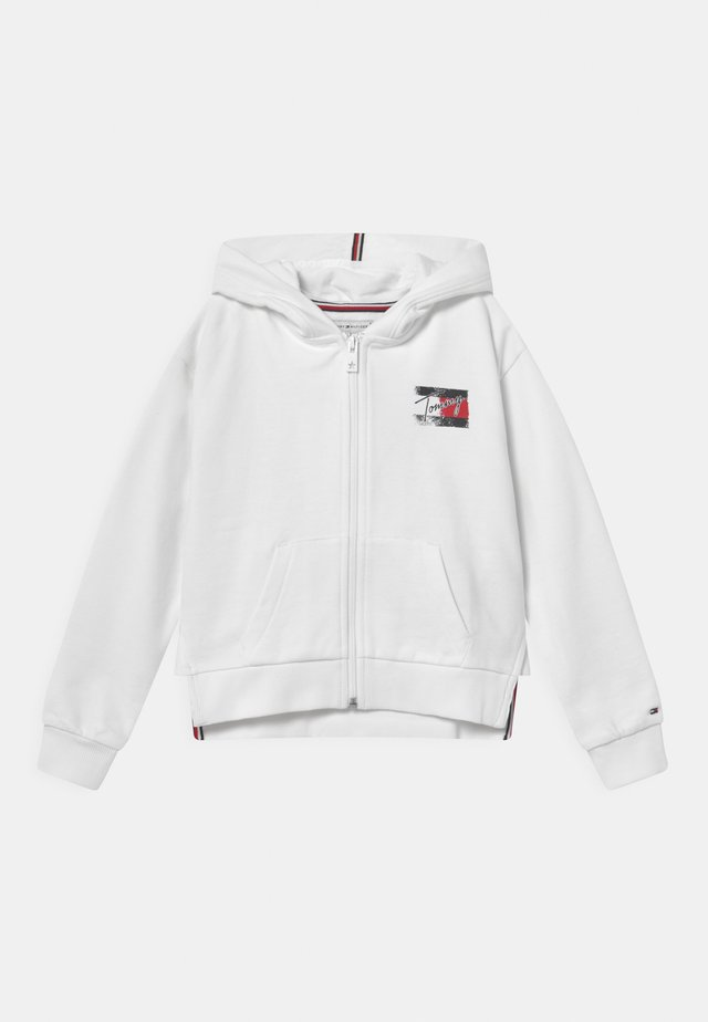 FLAG PRINT ZIP HOODIE - veste en sweat zippée - white