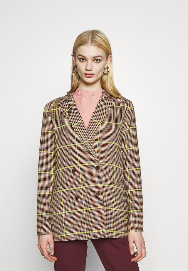 DOUBLE BREASTED LONGER LENGTH IN SPECIAL CHECK - Blazer - yellow