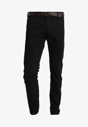 WITH BELT PANTS - Trousers - black