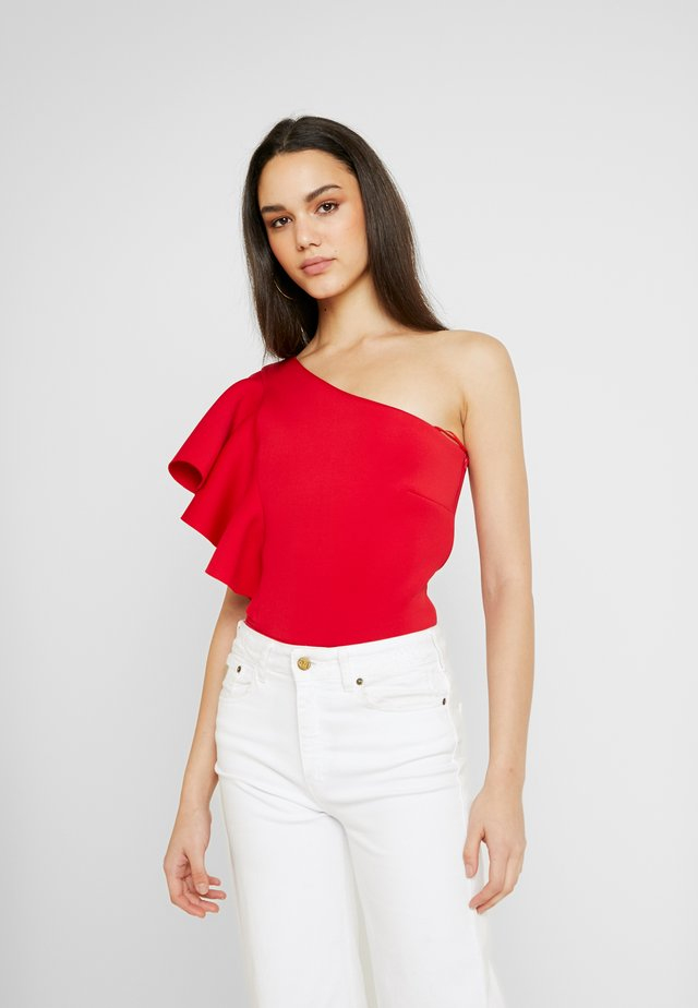 TRUE ONE SHOULDER FRILL BODYSUIT - T-shirt imprimé - red