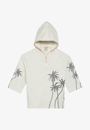 BOXY FIT ANORAK HOODY WITH PLACED GLITTER PRINT PALMTREES - Hoodie - ecru melange