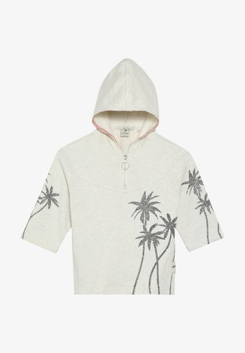 BOXY FIT ANORAK HOODY WITH PLACED GLITTER PRINT PALMTREES