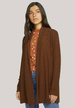 COZY BRUSHED - Cardigan - amber brown melange