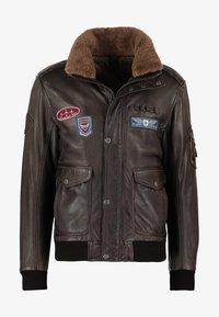 Leather jacket - dunkelbraun