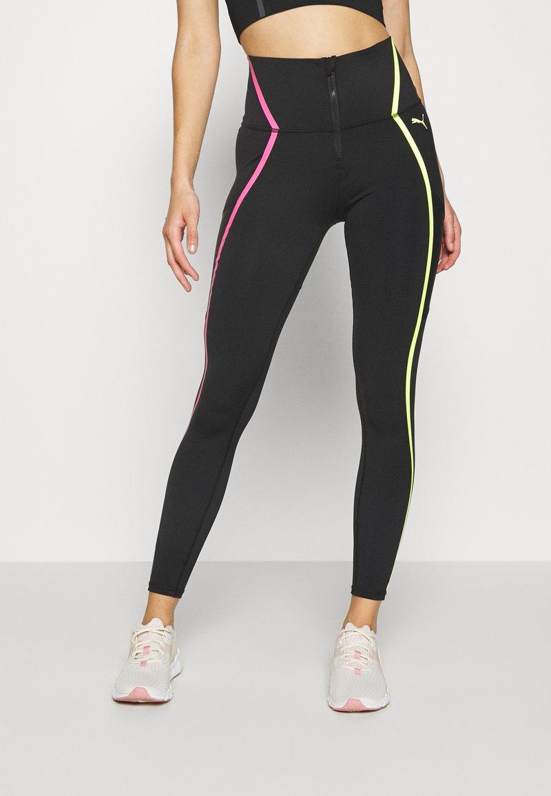 Puma - TRAIN BONDED ZIP HIGH RISE FULL - Leggings - black/pink/yellow