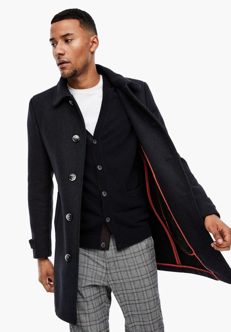 s.Oliver BLACK LABEL - MET GEWEVEN STRUCTUUR - Classic coat - dark blue dobby