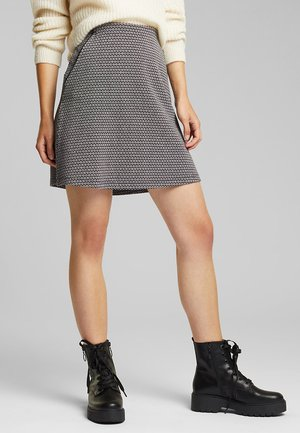 MIT JACQUARD-MUSTER - A-line skirt - black