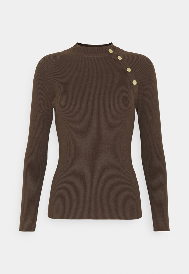 JDYPLUM BUTTON  - Stickad tröja - chocolate brown