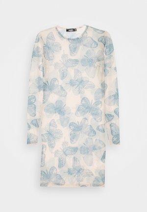 BUTTERFLY PRINT CREW NECK MINI DRESS - Day dress - blue