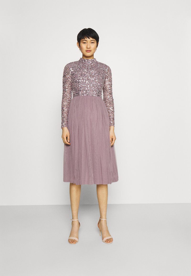 Maya Deluxe - DELICATE SEQUIN MIDI DRESS - Cocktail dress / Party dress - moody lilac