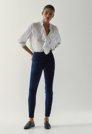 MIT HOHEM BUND - Jeansy Skinny Fit - blue-black denim