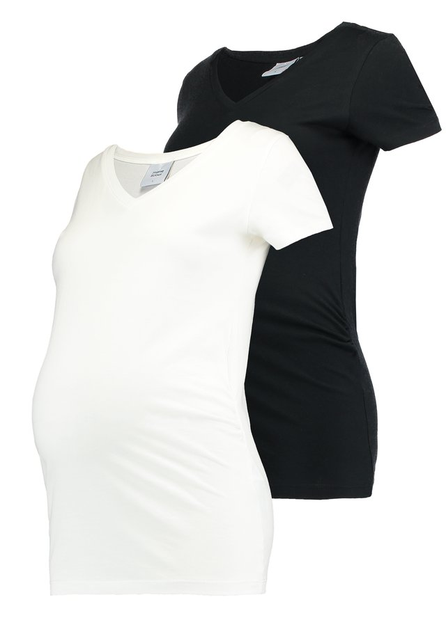 MLANNIA 2 PACK  - T-shirt basic - black/snow white