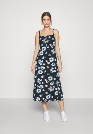 FLORAL STRAPPY KNOT FRONT MIDI DRESS - Jerseyjurk - navy