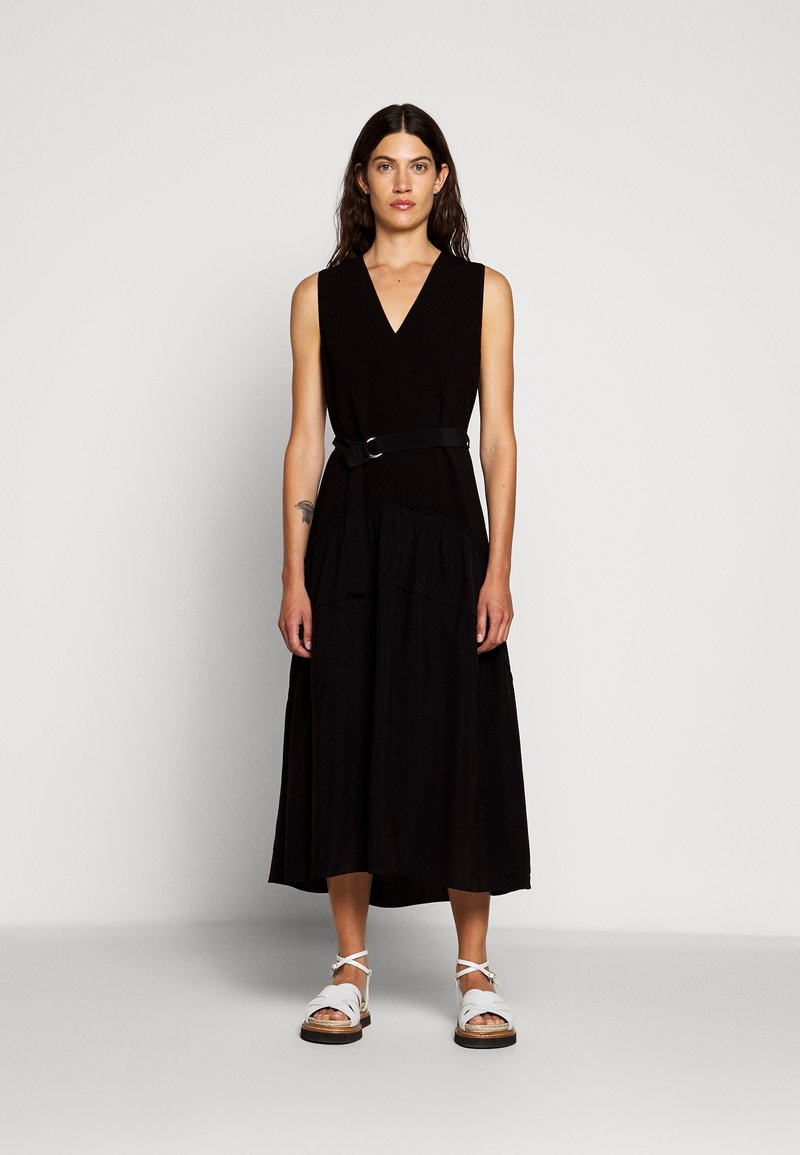 3.1 Phillip Lim - V NECK TANK DRESS SHIRRED SKIRT - Day dress - black