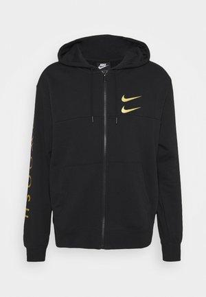 HOODIE - Zip-up hoodie - black/gold