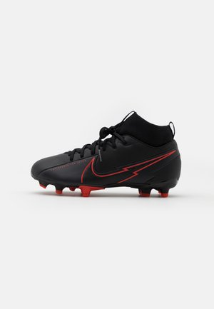MERCURIAL JR 7 ACADEMY FG/MG UNISEX - Moulded stud football boots - black/dark smoke grey
