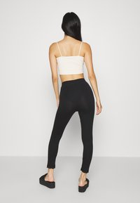 Even&Odd - High Waist Leggings with Lace Detail - Leggings - Trousers - black - 2