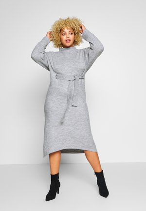 TIE WAIST DRESS - Jumper dress - grey