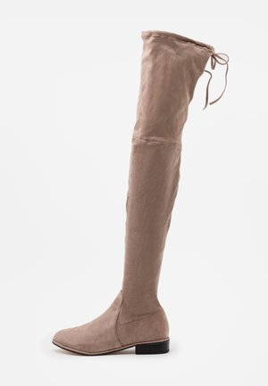 FLAT BOOTS - Kozačky nad kolena - mocha