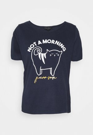 MORNINGS SLOGAN CAT FOLDED - Pigiama - navy