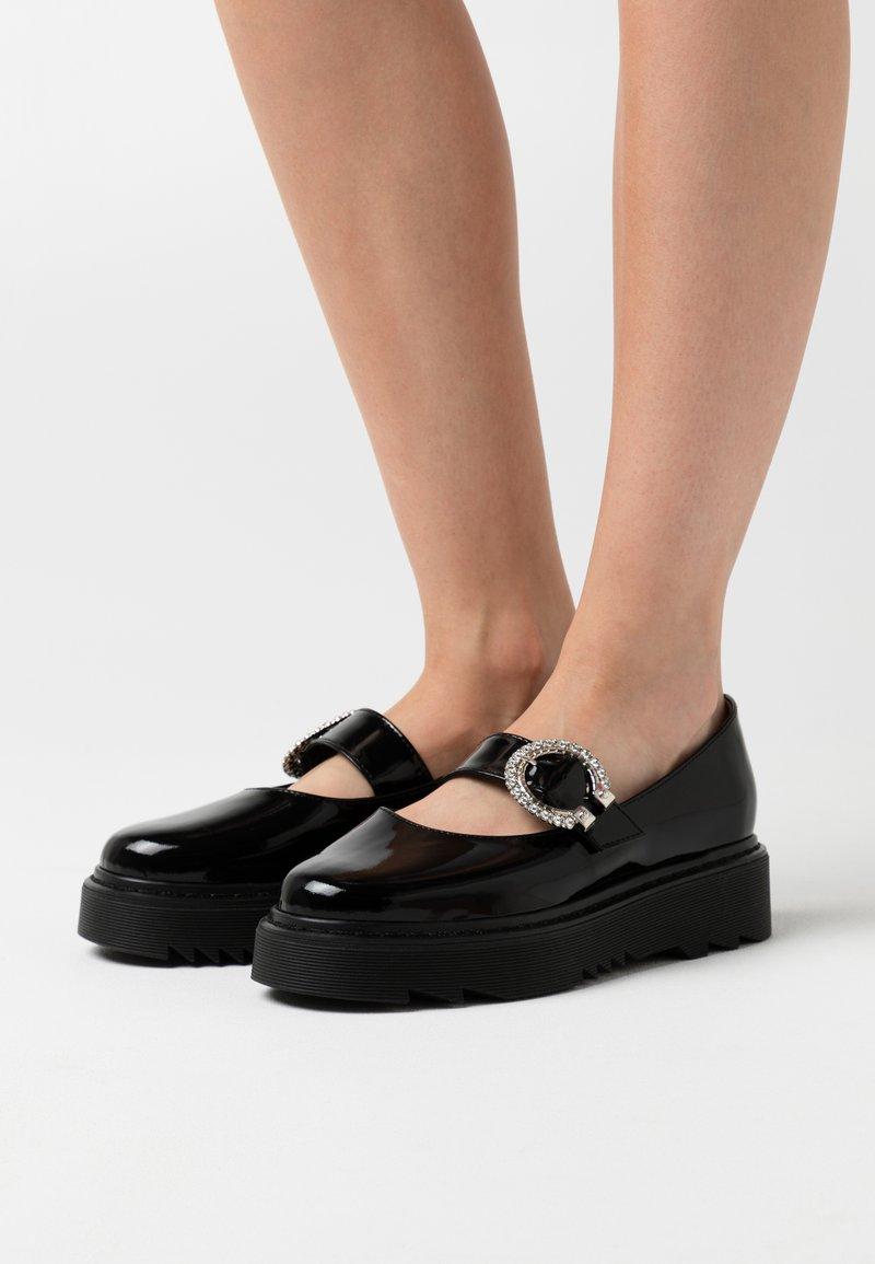 L37 - WISH YOU WOULD - Ankle strap ballet pumps - black