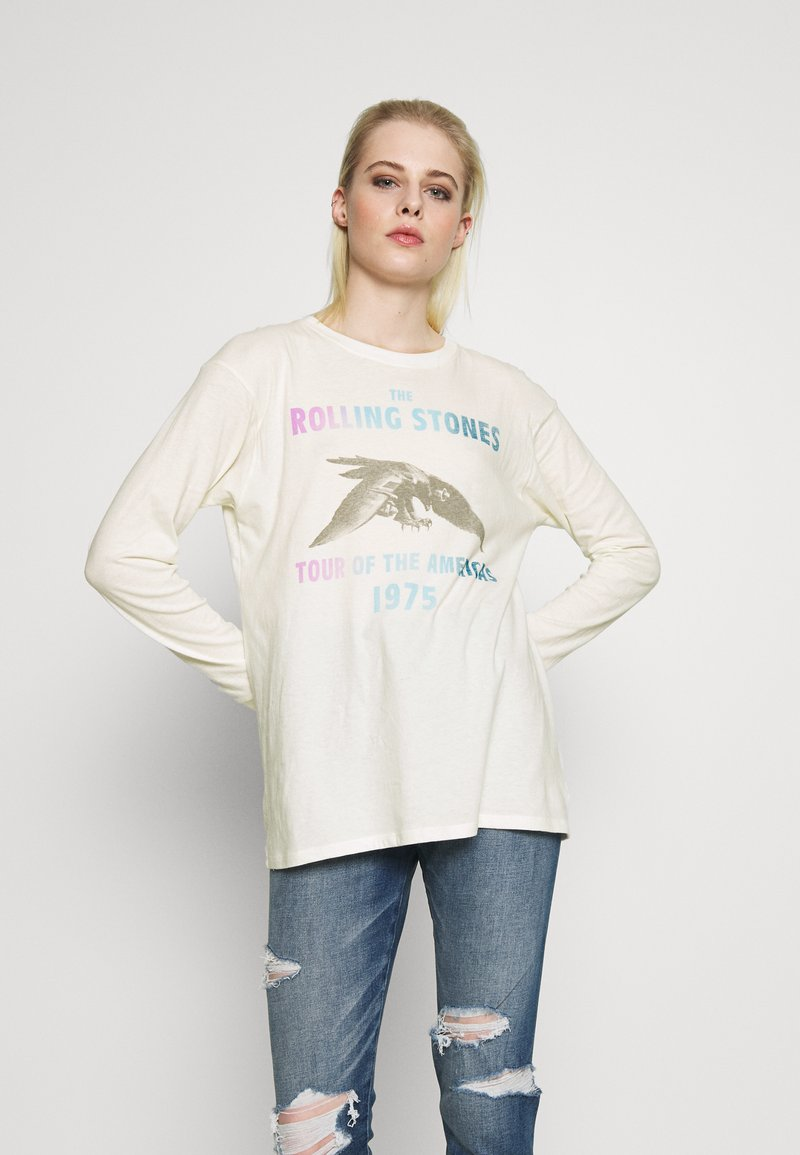American Eagle - BEACH LONG SLEEVE TEE ROLLING STONES - Long sleeved top - natural white
